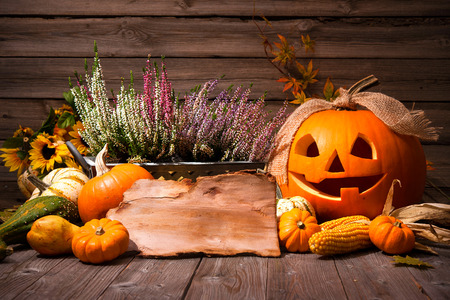 calabaza: De Halloween Bodegón con calabazas y espacio para el texto de fiesta de Halloween Foto de archivo