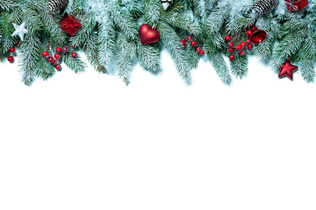 holiday celebration: Christmas decoration Holiday decorations isolated on white background Stock Photo
