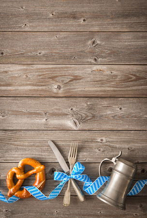 menu background: Oktoberfest beer festival background. Menu for Bavarian specialties Stock Photo