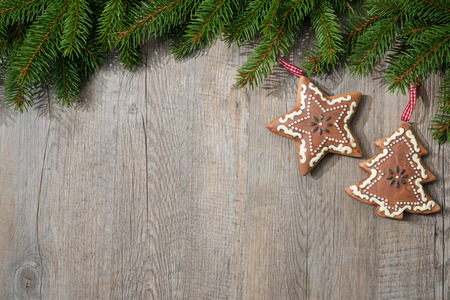 christmas vintage: Vintage christmas decoration over old wooden background Stock Photo