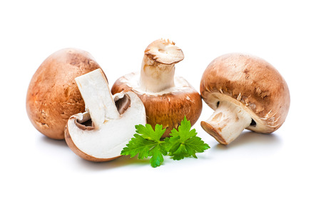 Fresh champignon mushrooms isolated on white
