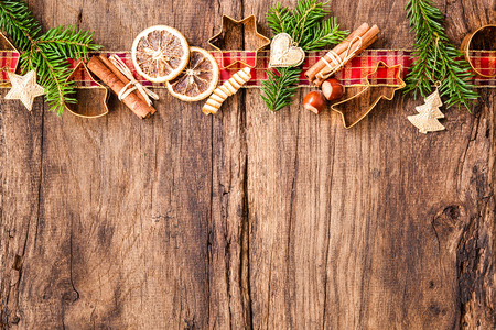 Baking concept background with spices and utensils for Christmas cookies Archivio Fotografico