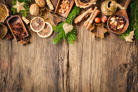 candy stick: Baking concept background with spices and utensils for Christmas cookies Stock Photo