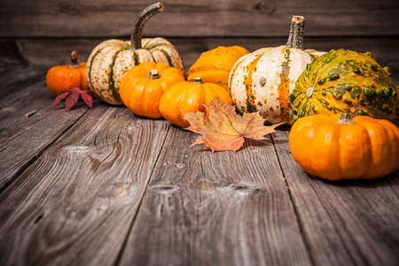 thanksgiving card: Autumn still life with pumpkins and leaves on old wooden background