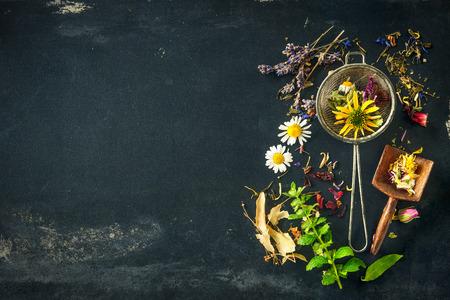 medecine: Fleurs sauvages et herbes diverses pour tisane Banque d'images