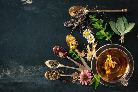 野生の花や様々 なハーブとハーブティーのカップ