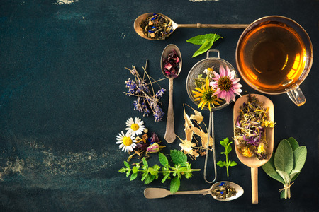 Cup of herbal tea with wild flowers and various herbs