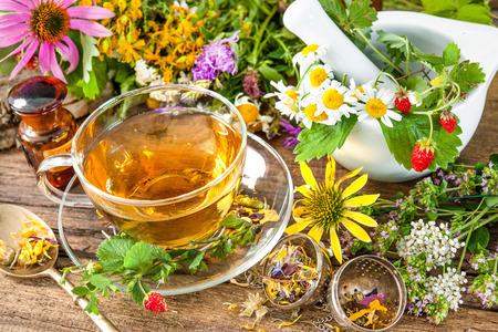 homeopatia: Taza de té de hierbas con flores silvestres y varias hierbas