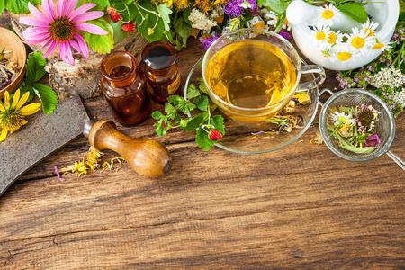 plantas medicinales: Taza de té de hierbas con flores silvestres y varias hierbas