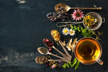 tazza di te: Tazza di tè alle erbe con fiori selvatici ed erbe varie Archivio Fotografico