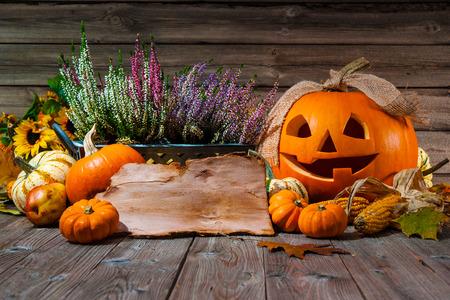 calabazas de halloween: De Halloween Bodegón con calabazas y espacio para el texto de fiesta de Halloween Foto de archivo