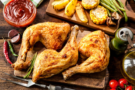 menue: Grilled chicken legs with vegetables