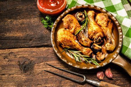 pollo rostizado: Muslos de pollo a la plancha con verduras