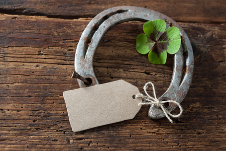charms: St. Patricks day, lucky charms. Four leaved clover and a horseshoe on wooden board