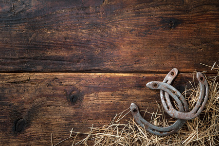 Two old rusty horseshoes with straw on vintage wooden board