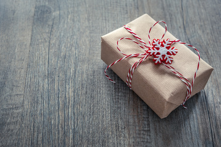 empty box: Christmas gift box over grunge wooden background
