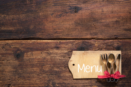cutleries: Set menu card for restaurants on wooden background