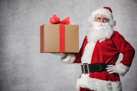box big: Santa Claus with a big gift box