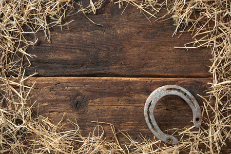 Old rusty horseshoe surrounded by straw on vintage wooden board Stock Photo