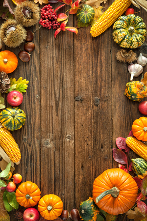 vintage timber: Harvest or Thanksgiving background with autumnal fruits and gourds on a rustic wooden table