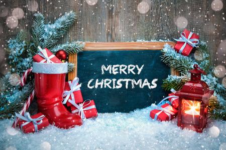 candela: Decorazioni di Natale vintage con lanterna, avvio rosso di Babbo Natale e regali