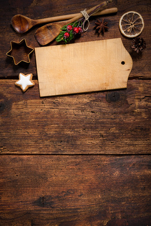 retro christmas: Christmas menu card for restaurants on wooden background Stock Photo