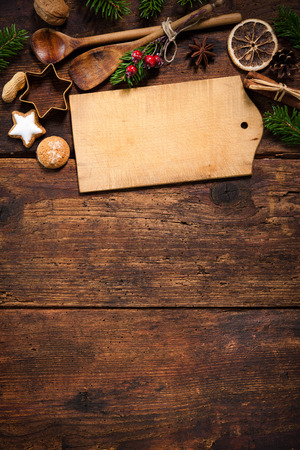 Christmas menu card for restaurants on wooden background Foto de archivo