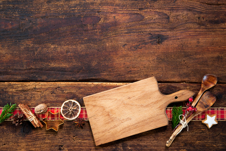 arrange: Christmas menu card for restaurants on wooden background Stock Photo