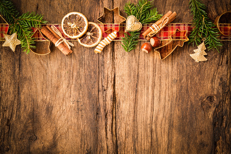 baking christmas cookies: Baking concept background with spices and utensils for Christmas cookies Stock Photo