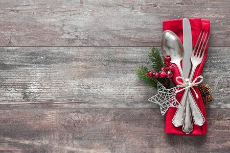 Weihnachtstisch Gedeck. Urlaub Hintergrund