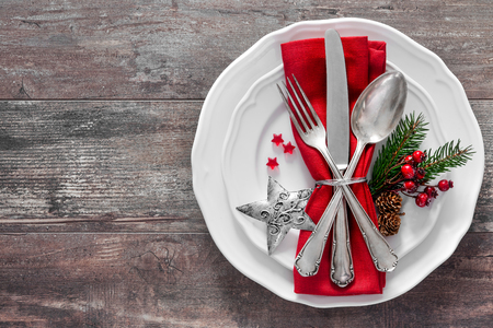 Christmas table place setting. Holidays background 스톡 콘텐츠