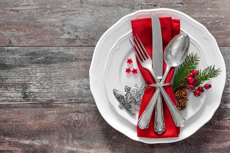 Christmas table place setting. Holidays background Stock Photo