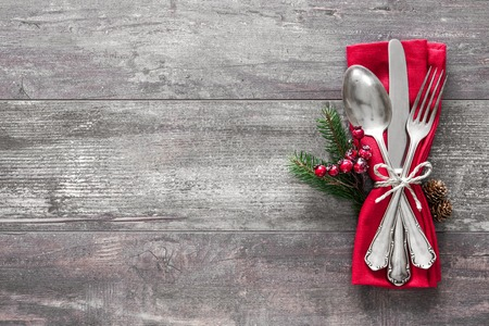 grunge cutlery: Christmas table place setting. Holidays background Stock Photo