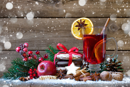 christmas spices: Christmas mulled wine with oranges and spices Stock Photo