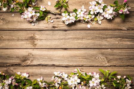 木製の背景を春開花枝。リンゴの花