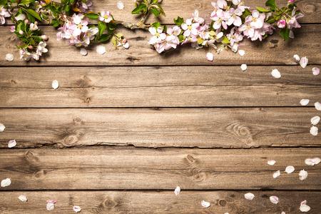 manzana: rama de la floración de primavera en el fondo de madera. flores de apple