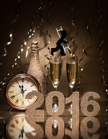 sweep: New Years Eve celebration background with pair of flutes, bottle of champagne, clock and a chimney sweep as lucky charm