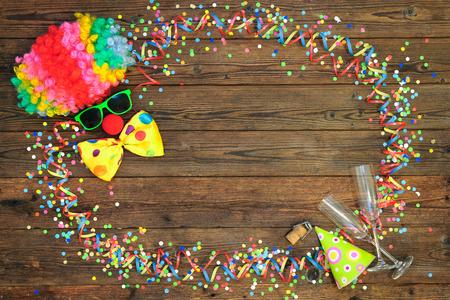 compleanno: Colorful carnival background with clown face design Archivio Fotografico
