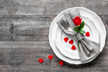 Valentines day table place setting. Holidays background 写真素材