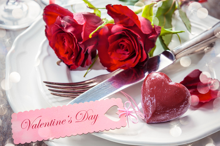 Festive place setting for Valentines day Stok Fotoğraf - 50773408
