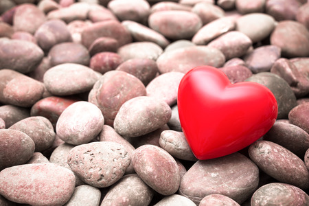 red pebble: Red hearts on pebble stones, still life. Valentine�s Day background
