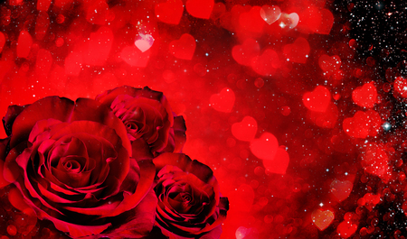 bright color: Valentines day background with roses and hearts