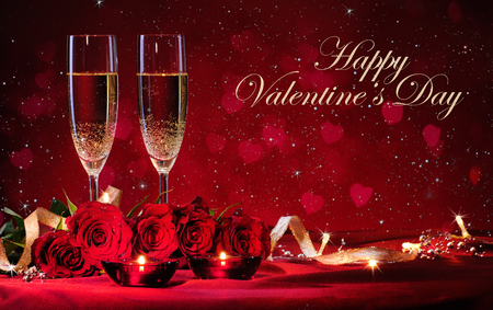 st valentines day: Valentines day background with champagne and roses