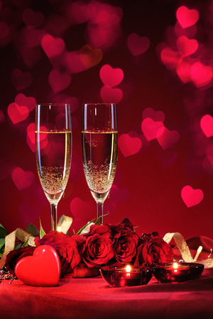 champagne glass: Valentines day background with champagne and roses
