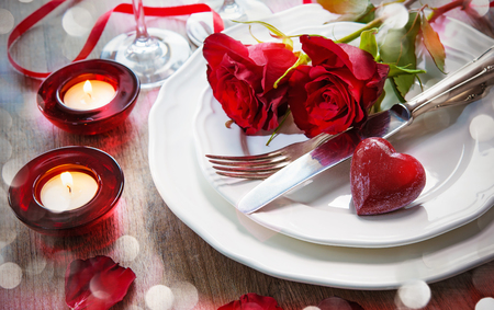 Happy valentines day: Festive place setting for Valentines day