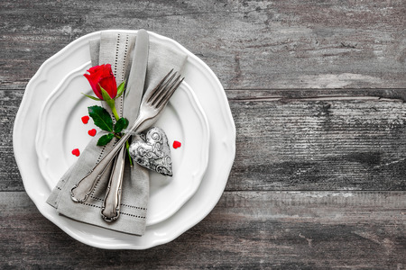 dining set: Valentines day table place setting. Holidays background Stock Photo