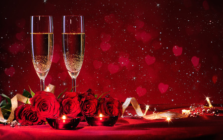 romantic dinner: Valentines day background with champagne and roses
