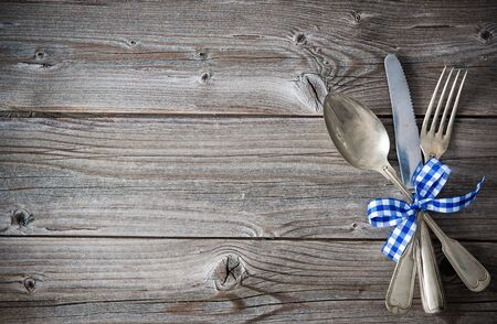 place setting: Oktoberfest background with the place setting. Menu for Bavarian specialties