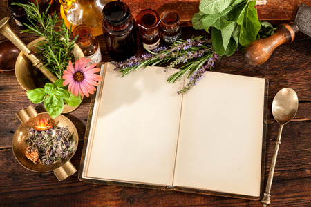 herbal: The natural medicine, herbal, medicines and old book with copy space for your text