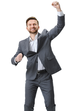 success man: Excited businessman celebration success. Isolated on white background